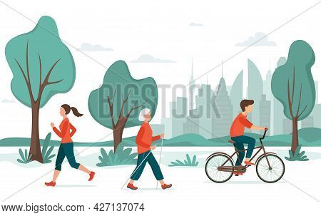 Outdoor Activity. People In The City Park. Jogging, Riding Bicycle, Nordic Walking. Urban Recreation
