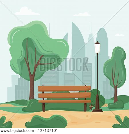 City Park Concept. Trees And Bushes, Park Bench, Walkway, Lantern And City Silhouette. Town And City