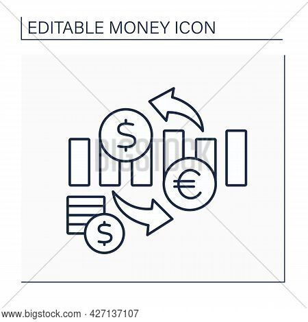 Exchange Rate Line Icon. Nation Currency Value In Terms Of Currency Of Another Nation. Currency Of D