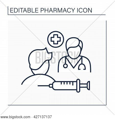 Specialty Drugs Line Icon. Specialty Pharmaceuticals. Doctor Appointment. Injections And Treatment.