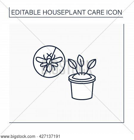 Gardening Line Icon. Control Insect Pests.protecting Plants From Wreckers.home Gardening. Houseplant
