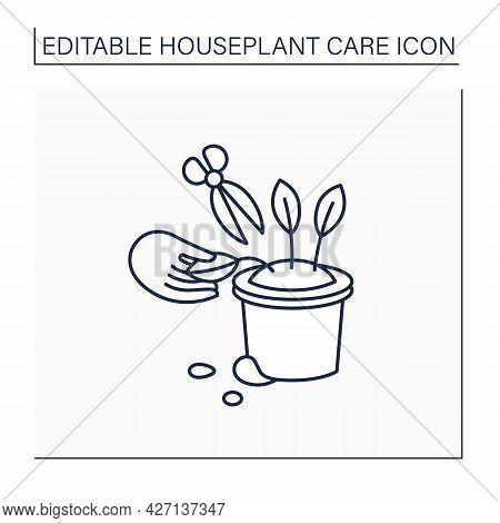 Gardening Line Icon. Remove Dying Leaves. Trimming Leaflets.home Gardening. Houseplant Care Concept.