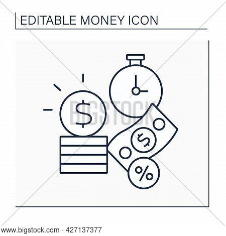 Interest Line Icon. Extra Money. Monetary Charge For Borrowing Money.annual Percentage Rate.money Co