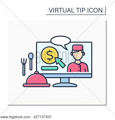 Donations Color Icon. Digital Tips For Chefs. Reward For Delicious Food. Compliment From Customer.vi