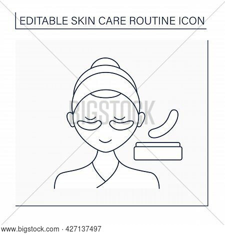 Cosmetology Line Icon. Under Eye Masks For Puffiness And Dark Circles. Eye Patches. Beauty Procedure