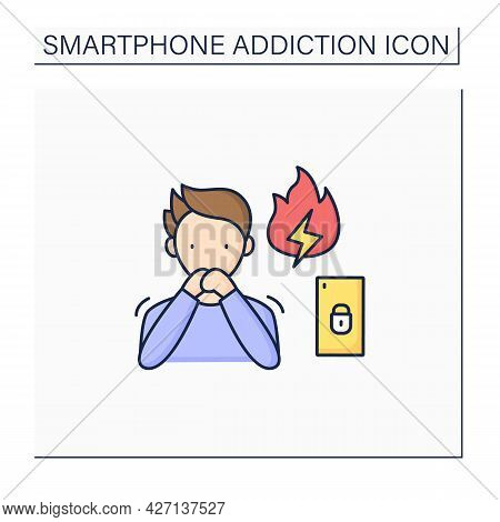 Smartphone Addiction Color Icon. Anxiety Feeling. Stress Due To Excessive Phone Use. Overwhelmed Con