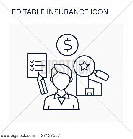 Assessor Line Icon. Person Calculates Or Estimates Price Or Value. Assessments For Purposes Of Taxat
