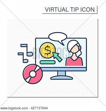 Music Maker Color Icon. Donations For Music Creators. Support Musicians. Art Development. Virtual Ti