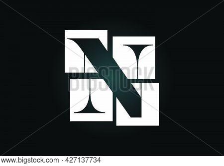 Initial N Monogram Letter Alphabet Made Of Four Squares. Font Emblem. Broken, Puzzle Alphabet Sign.