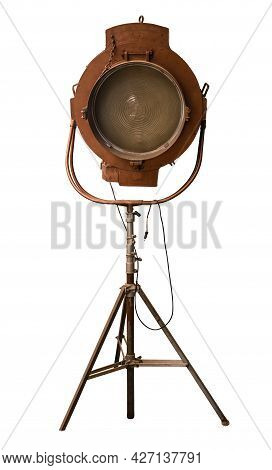 A Vintage Theatre, Movie Or Tv Studio Light, Isolated On A White Background