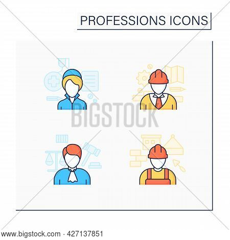 Professions Color Icons Set. Nurse, Engineer, Judge And Builder. Various Professions. Important Jobs