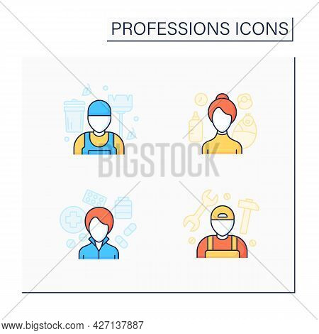 Professions Color Icons Set. Nanny, Janitor, Pharmacist And Handyman. Various Professions. Important
