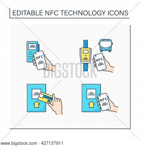 Nfc Technology Color Icons Set. Safety Payment System On Smart Watch Or Mobile Phone. Near Field Com