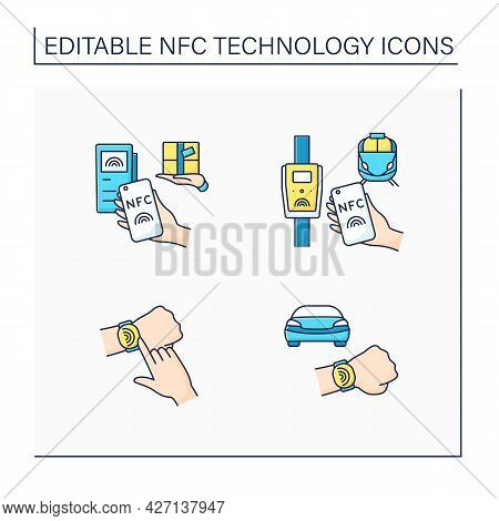 Nfc Technology Color Icons Set. Safety Payment System On Smart Watch Or Mobile Phone. Delivery, Publ