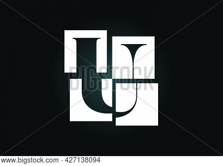 Initial U Monogram Letter Alphabet Made Of Four Squares. Font Emblem. Broken, Puzzle Alphabet Sign.