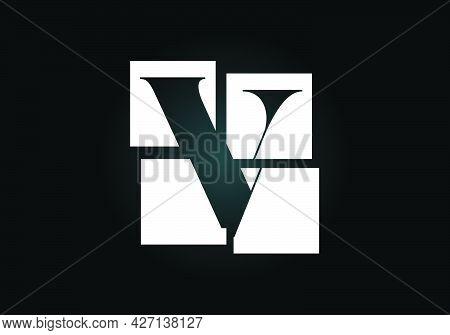 Initial V Monogram Letter Alphabet Made Of Four Squares. Font Emblem. Broken, Puzzle Alphabet Sign.