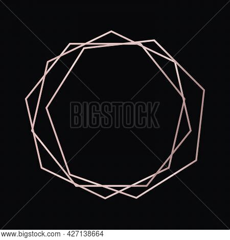 Rose Gold Geometric Polygonal Frame With Shining Effects Isolated On Dark Background. Empty Glowing