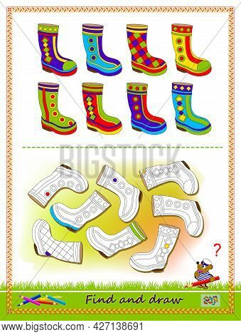 Educational Game For Kids. Find The Pairs For All The Boots And Draw Them By Example. Worksheet For