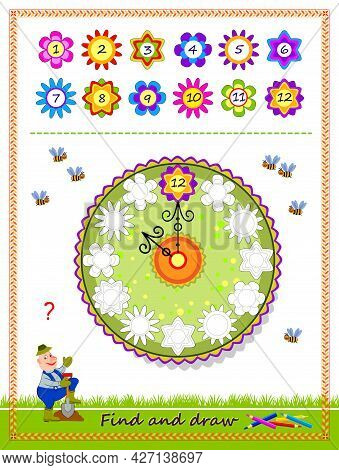 Educational Game For Kids. Find Correct Places For All Numbers And Draw The Flower Clock. Coloring B