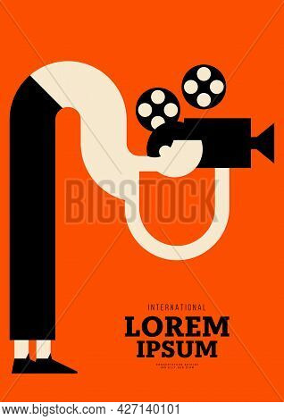 Movie Poster Design Template Background With Vintage Film Camera. Can Be Used For Backdrop, Banner,