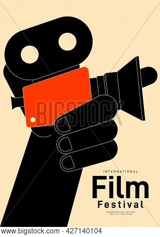 Movie Festival Poster Design Template Background With Vintage Film Camera. Can Be Used For Backdrop,