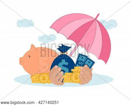 Vector Flat Illustration Of Financial Insurance. Saving Money And Protecting Bank Deposit. Protectio