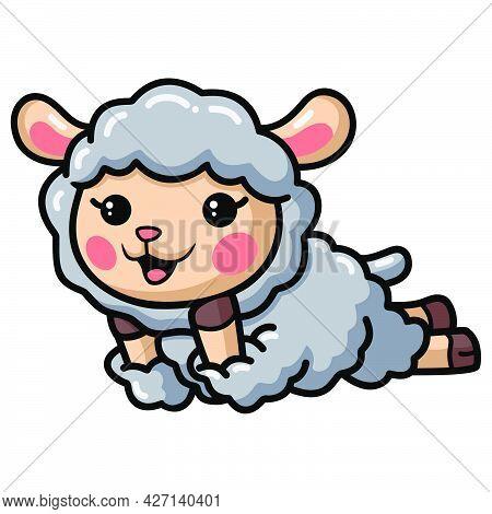 Vector Illustration Of Cute Baby Sheep Cartoon Laying Down