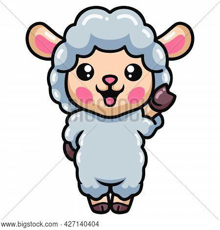 Vector Illustration Of Cute Baby Sheep Cartoon Standing
