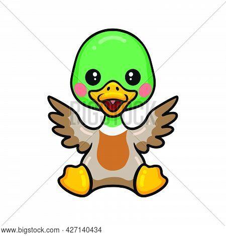 Vector Illustration Of Cute Little Duck Cartoon Sitting