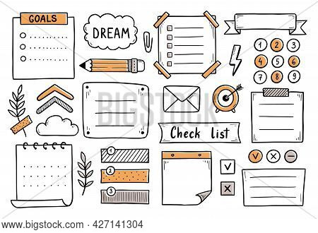 Bullet Journal Hand Drawn Element Set, Sticker, Planner Label. Doodle Sketch Scribble Style. Bullet