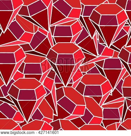Ruby Abstraction. Seamless Pattern. For Backgrounds And Textures. Illustration.