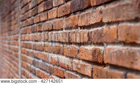 Red Brick Wall From The Side, Focus Selected, Blur On The Far Side