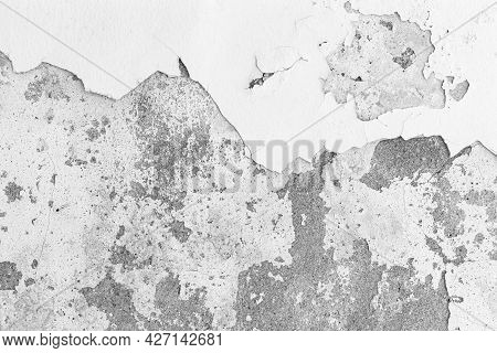 Old Cement Wall Painted White, Peeling Paint Texture And Background