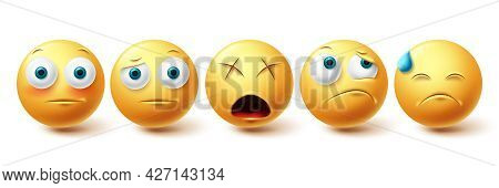 Emoji Face Vector Set. Emojis Emoticon Sad, Upset And Lonely Icon Collection Isolated In White Backg