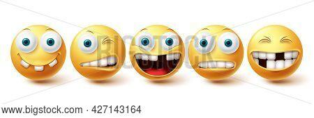 Emoji Funny Teeth Vector Set. Emojis Emoticon Funny Teeth And Crazy Collection Facial Expressions Is