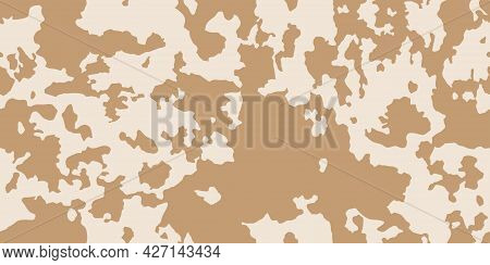 Cow Skin In Brown Spotted On Light Beige Background , Seamless Pattern, Animal Print, Grunge Texture
