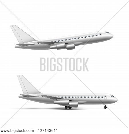 Flying And Standing Airplane, Jet Aircraft Or Airliner Side View. Detailed Passenger Air Plane On Wh
