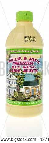 Winneconne, Wi -18 July 2021:  A Bottle Of Nellie And Joes Famous Key West Lime Juice On An Isolated