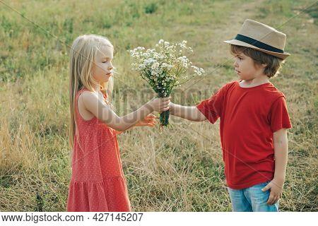 Romantic And Love. Childcare. Valentine. The Concept Of Child Friendship And Kindness. Happy Valenti