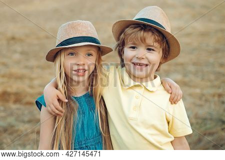 Children Outdoor Fun In Autumn. Summer Portrait Of Happy Cute Child. Child Playing Happy Childhood.