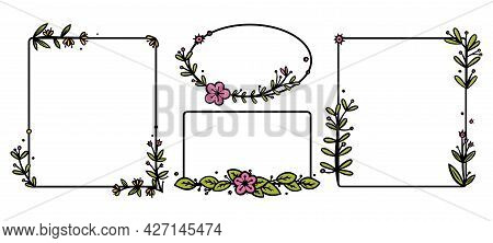 Rustic Wreaths Dividers With Handdrawn Flowers. Rectangle And Circle Doodle Wreaths. Doodle Vector I