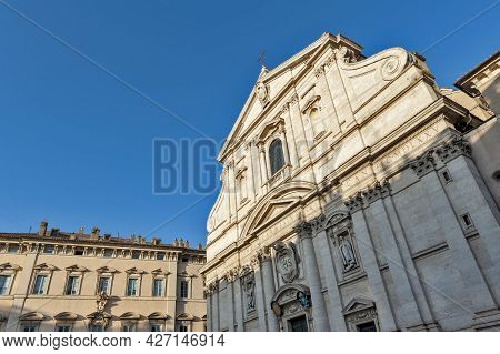 Front Facade Of Church Of The Gesu Or Church Of The Most Holy Name Of Jesus In Argentina, Roman Cath
