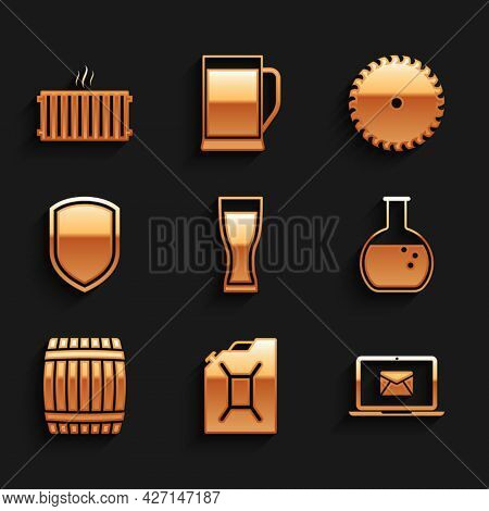 Set Glass Of Beer, Canister For Gasoline, Laptop With Envelope, Test Tube And Flask, Wooden Barrel A