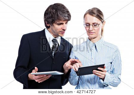 Business Couple With Tablet Computers