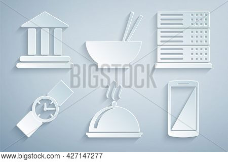 Set Covered With Tray Of Food, Server, Data, Web Hosting, Wrist Watch, Smartphone, Mobile Phone, Bow