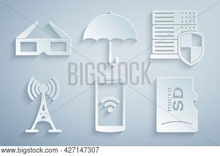 Set Smartphone With Wireless, Server Shield, Antenna, Micro Sd Memory Card, Umbrella And 3d Cinema G