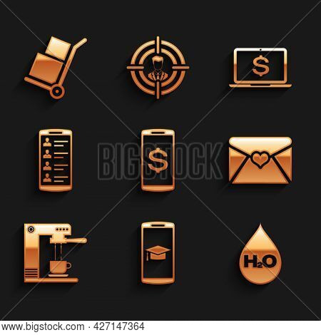 Set Smartphone With Dollar, Graduation Cap Mobile, Water Drop H2o, Envelope Valentine Heart, Coffee