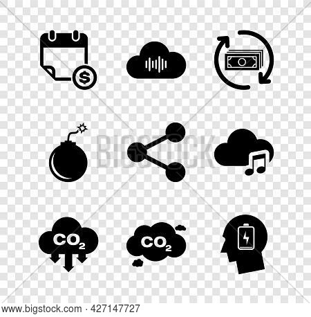 Set Financial Calendar, Music Streaming Service, Refund Money, Co2 Emissions Cloud, And Head With Lo