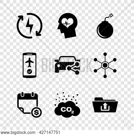 Set Recharging, Head With Heartbeat, Bomb Ready To Explode, Financial Calendar, Co2 Emissions Cloud