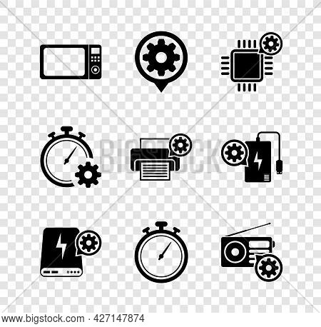 Set Microwave Oven, Setting, Processor Setting, Power Bank, Stopwatch And Radio Icon. Vector